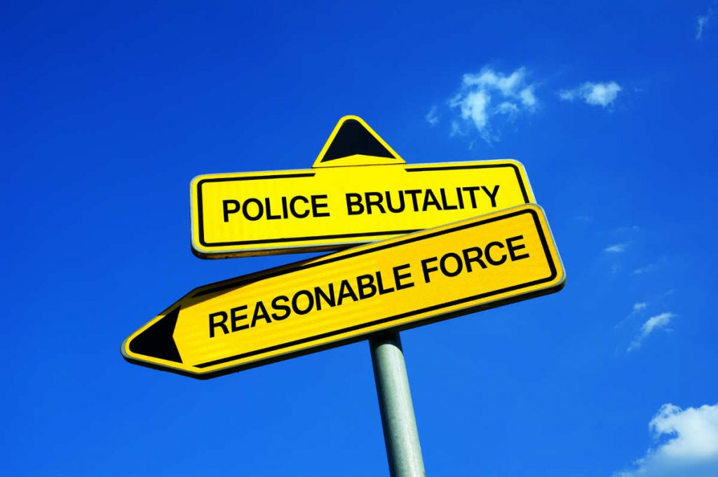 sign illustrating the fine line between police brutality and reasonable deadly force